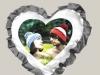 Подушка «сердце» с серебряными  рюшами